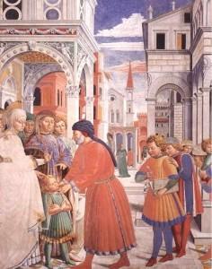 Augustinus kommt in die Schule | Detail aus den Fresken von Benozzo Gozzoli in San Gimignano | © Augustiner Wien